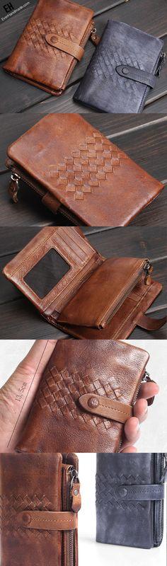 Handmade men short leather wallet men vintage gray brown