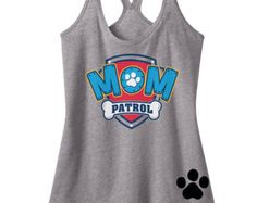 Custom Mom Patrol Shirt Paw Patrol Inspired Birthday number Tank Shirt with Name on Back