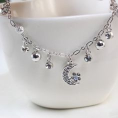 $6.84 Simple Chic Diamante Moon and Bead Pendant Alloy Anklet For Women