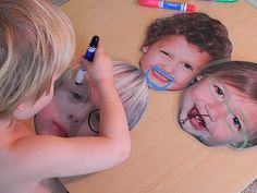 Blow up photos, laminate and have fun with dry erase markers!