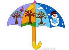 Umbrella depicting the seasons Seasons Activities, Weather Activities, Class Decoration, School Decorations, Preschool Education, Preschool Activities, Clever Kids, Baby Barn, Montessori Materials