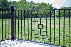 Metal Works Excalibur Steel Railing Line Garden Railings, Steel Railing, Deck Builders, Railing Design, Built In Bench, Outdoor Living, Outdoor Decor, Garden Bridge, Diys