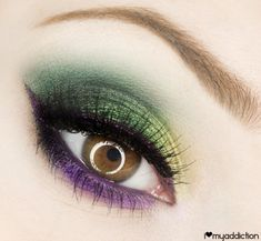 Makeup Ideas 2018 - Mardi Gras eye make up for Hazel Eyes - Poison Berry. Makeup Geek, Makeup Tips, Eye Makeup, Hair Makeup, Makeup Ideas, Berry Makeup, Green Makeup, Girl Joker Makeup, Purple Makeup