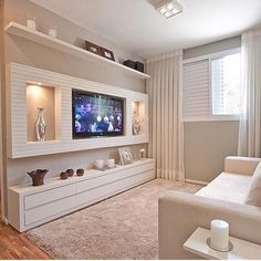 Unique ideas for some great TV wall decor! Transform your home with the help of our inspiring images and see some amazing TV wall design taking place! Tv Wall Design, House Design, Modern Tv Wall Units, Living Room Tv Unit Designs, Tv Wall Decor, Wall Decorations, Room Additions, Small Apartments, Decor Interior Design