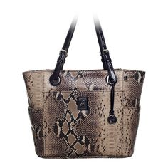"Sarah    $80.00    Crafted of patent faux leather or sleek animal print and simply stunning, this tote has room enough for all your must-haves. Each color option features cleverly contrasting handles.    • Faux patent leather  • 16"" L, 11"" H, 6.25"" W  • Handles with 10"" drop  • Exterior pocket fits any Grace Adele Clutch"