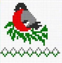 bird- graph for knitting or cross stitch Knitting Charts, Knitting Stitches, Knitting Socks, Baby Knitting, Knitting Patterns, Tapestry Crochet Patterns, Crochet Baby, Cross Stitch Bird, Cross Stitching