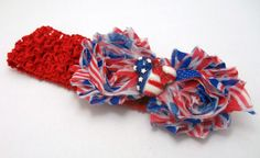 July 4th Red White And Blue Shabby Mouse by JustinesBoutiqueBows