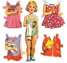 Paper Dolls, aaah, those were the days! I had lots of books of paper dolls, so much fun popping them out and hooking on the clothes :-)