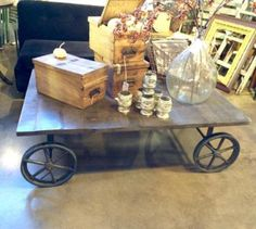 """Large Industrial Coffee Table   53.5"""" Wide x 35.5"""" deep x 16"""" High   $975  Dealer #710  Lost. . .Antiques 1201 N. Riverfront Blvd. Dallas, TX 75207  Monday - Saturday: 10am - 5pm Sunday 1"""