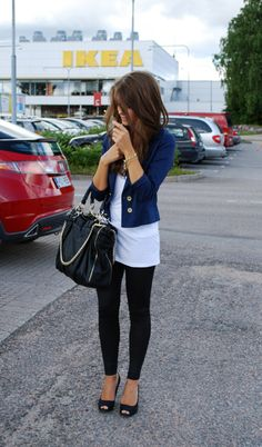 long loose shirt over leggings with a cropped structured jacket.  no peep toes or ugly bag tho...