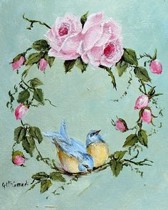 Ready to hang Print - Birds & Roses - FREE POSTAGE Australia wide