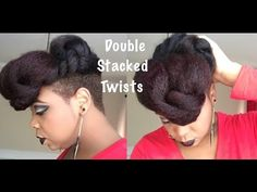 Double Stacked Twists on Natural Hair - DIY Tutorial - YouTube