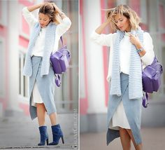 White sweater, white and grey skirt, blue shoes, baby blue scarf, purple bag