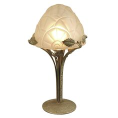 French Art Deco Table Lamp by Degue, Wrought Iron Base  $2275