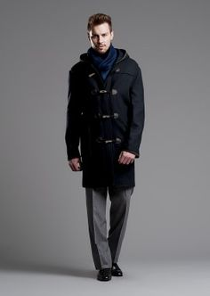 British Duffle Men's Made in England Long Duffle Coat - Charcoal ...