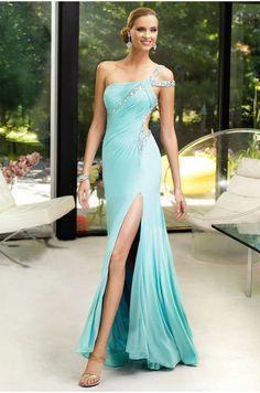 One Shoulder Split Front Column Prom/Evening Dress