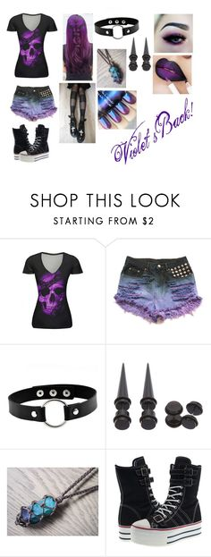 """Violet"" by ashgordan on Polyvore featuring WithChic, Hot Topic, casual, Punk, goth, violet and OC"