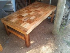 I made this table from old pallets. .