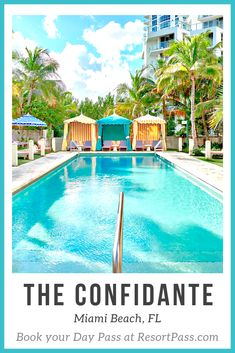 """Experience a day of fun in the sun at The Confidante, one of Miami Beach's hottest hotels. This paradise setting includes a chic pool and cocktail scene inclusive of a tropical garden with gorgeous scenery. The oceanfront oasis offers direct access to Miami Beach and embodies the glamour of Art Deco style with vibrant pops of color and playful mid-century modern flair.The Confidante is the perfect spot for an idyllic and blissful """"daycation"""" in the Miami sunshine. Florida Hotels, Hotels And Resorts, Beach Day, Miami Beach, Tropical Garden, Art Deco Fashion, Cabana, Oasis, Color Pop"""