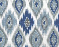 Navy Blue Ikat Upholstery Fabric Indigo Ikat by PopDecorFabrics