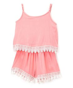 Take a look at this Coral Crochet-Trim Romper - Girls today!