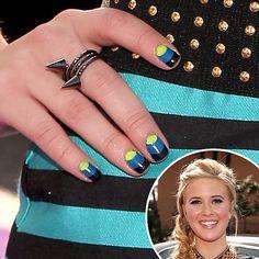 Caroline Sunshine: This three-part half-moon manicure, seen on Caroline Sunshine at the Kids Choice Awards, combines neon yellow, blue, and black tones.