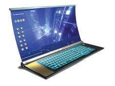 Futuristic Laptop, Flexible Screen, Future Technology, concept, futuristic gadget, futuristic device