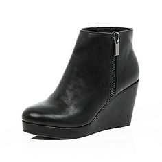 Give your day-to-night looks a little lift with these black wedge heel ankle boots. Complete with a side zip fastening. Black Wedge Boots, Short Black Boots, Wedge Ankle Boots, Black Ankle Booties, Wedge Heels, Bootie Boots, Shoe Boots, Fashion Shoes, River Island