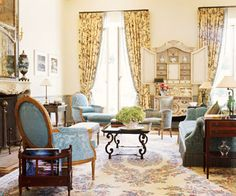 Antiques, florals, rustic details, and gilded elements give rooms the elegant yet cozy look of country French style.