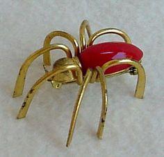 BAKELITE CHERRY RED SPIDER PIN