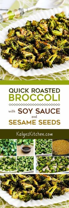 Unless you're a confirmed broccoli avoider you MUST TRY this Quick Roasted Broccoli with Soy Sauce and Sesame Seeds; this recipe is amazing. And it's low-carb dairy-free gluten-free vegan and South Beach Diet friendly and if you sub the soy sauce for Roasted Broccoli Recipe, Broccoli Recipes, Vegetable Recipes, Jalapeno Recipes, Grilled Broccoli, Veggie Food, Chicken Recipes, Healthy Recipes, Low Carb Recipes