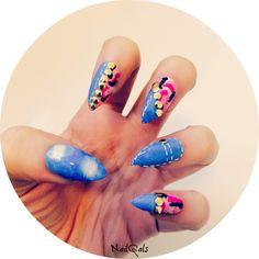 denim and pink camo stiletto nails #stilettonails #falsenails #fakenails #nailart #funkynails #uniquenaildesigns #etsy #store #shop #camonails #denimnailart