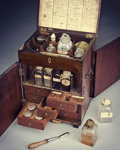 Victorian Medicine Chest. The mahogany medicine chest contains boxes, bottles, and tubes of medications to treat a number of conditions. The chest includes treatments to purge the body by vomiting (emetics), by sweating (diaphoretics), as well as general purgatives such as rhubarb, jalap and calomel. Other medications include pain relief, such as opium plus astringents and stimulants, including ginger and lavender. The chest contains a handwritten inventory listing the medications. The chest…