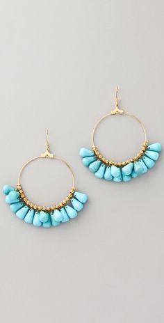 Everything Turquoise: Kenneth Jay Lane Beaded Hoop Earrings Bead Jewellery, Wire Jewelry, Jewelry Crafts, Beaded Jewelry, Jewelery, Silver Jewellery, Beaded Bracelet, Earrings Handmade, Handmade Jewelry