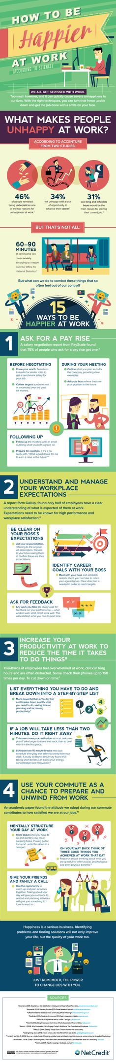 How to be Happier at Work (according to science) - Job satisfaction is a rare and beautiful thing. You spend half your life in the workplace, yet you can feel underpaid, undervalued and overworked. What can you do to get your job working for you? Unhappy At Work, Happy Employees, Tips To Be Happy, Job Satisfaction, Ways To Be Happier, Job Work, Science, Employee Engagement, Work Quotes