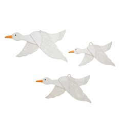 Limited edition, original Erstwilder Flying Ducks wall decor in white. Designed by Louisa Camille Melbourne. Buy now Bird Art, Home And Living, Whimsical, Wall Decor, Birds, Ducks, Resin Jewelry, Jewellery, Animals