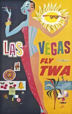 David Klein (1918-2005)  LAS VEGAS, FLY TWA , c.1963
