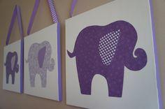 Purple Elephant Nursery Canvases