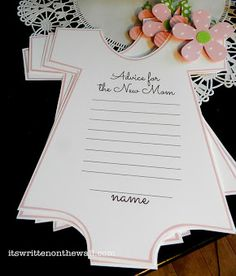 To be passed to the guests so they can write one or several words of advice for the new parents to be