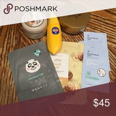 Korean Skin Care Bundle Includes Carbonated Bubble Clay Mask, Magic Food Banana Sleeping Pack, DiaForce Hydro gel eye patch Gold, Panda Character Mask, Etude House Snail Firming Mask, 3 Blackhead Out Aloe Nose Strips Makeup