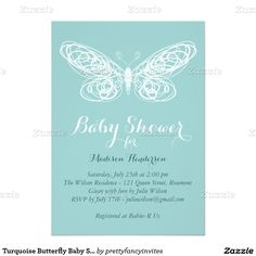 Turquoise Butterfly Baby Shower Invitation