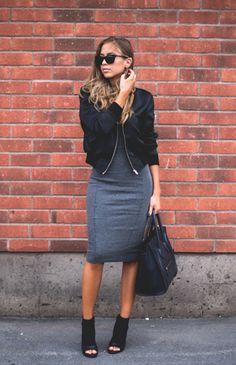 bomber jacket, H&M dress, grey, black, Céline bag www.redreidinghood.com