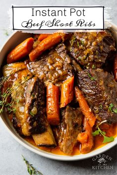 This instant pot short ribs recipe yields the most tender, juicy and flavorful meat that's falling off the bone. The instant pot makes it possible to enjoy this traditionally slow cooked meat much faster and just as delicious. #instantpot #shortribs #beefshortribs