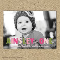 girl birthday party invitation with photo (customized in coordinating party colors of course)