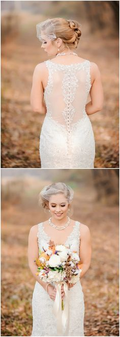 Elegant wedding dress, sheer back, lace, birdcage veil // Tracy Shoopman Photography