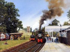 Steam Locomotive Water Colour Painting by Howard Fogg