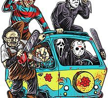 Horror T-Shirt by NibiruHybrid. The Massacre Machine shows horror icons like Freddy Krueger and Jason Voorhees on the Mystery Machine from Scooby Doo. Halloween Painting, Halloween Drawings, Halloween Art, Michael Myers, Horror Movie Characters, Horror Movies, Horror Movie Tattoos, Cartoon Kunst, Cartoon Art