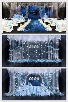 Dark blue light blue dream starry sky wedding renderings#pikbest#decors-models Blue Wedding Decorations, Backdrop Decorations, Backdrops, Wedding Reception Backdrop, Wedding Mandap, Wedding Veils, Wedding Receptions, Wedding Stage Design, Wedding Designs