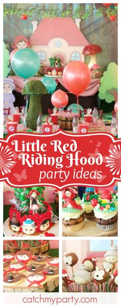 Take a look at this gorgeous Little Red Riding hood birthday party. The cupcakes are adorable!! See more party ideas and share yours at CatchMyParty.com