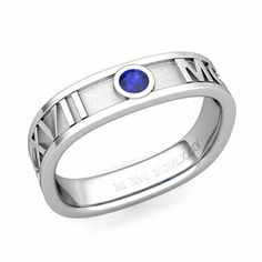 Customized square Roman Numeral Wedding Band with a solitaire natural blue sapphire - the roman numerals can be chosen to read your own special date so it is a really romantic choice for a wedding band!!